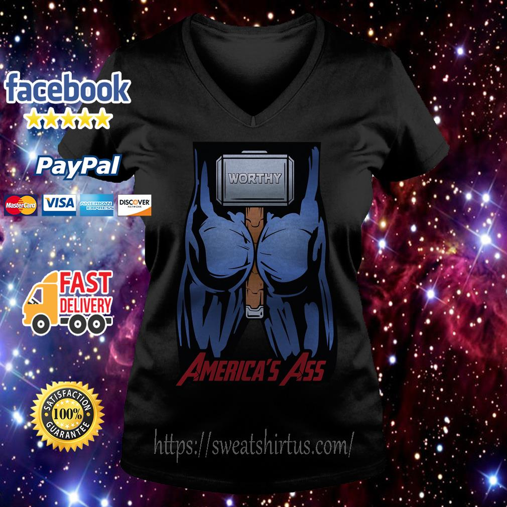 Worthy America's Ass V-neck T-shirt