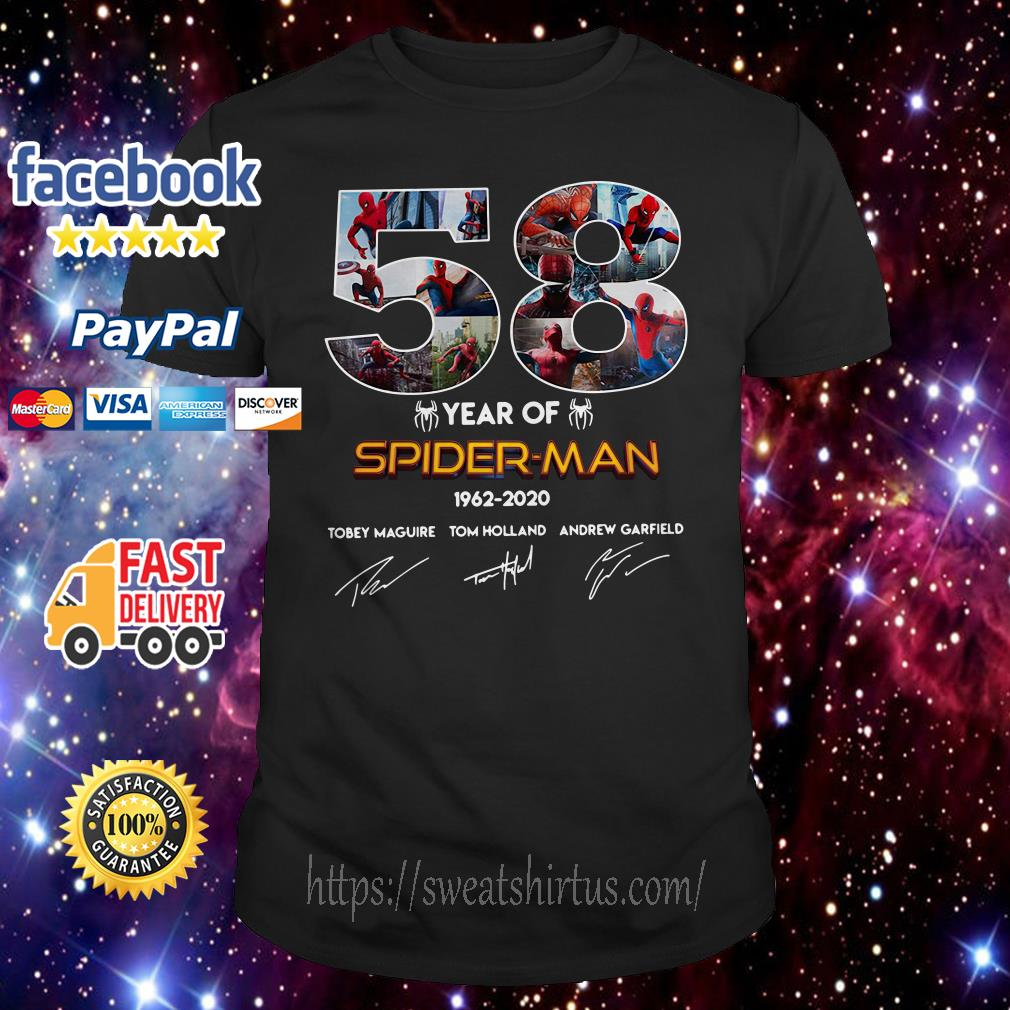 58 year of Spider Man 1962 2020 signature shirt