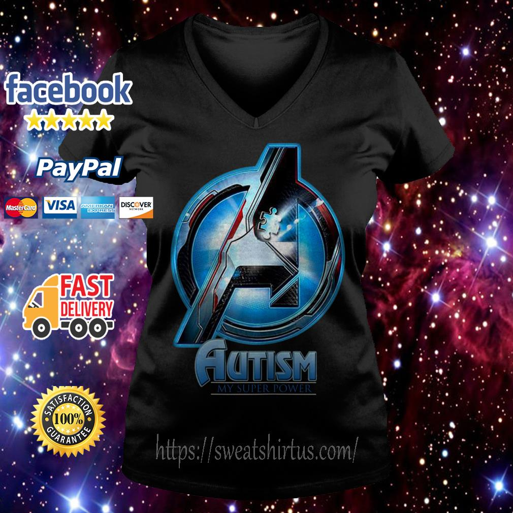 Avenger Autism my super power V-neck T-shirt