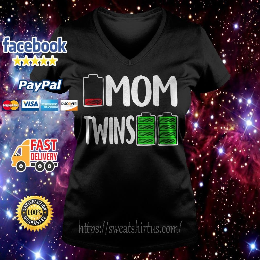 Battery mom twins V-neck T-shirt
