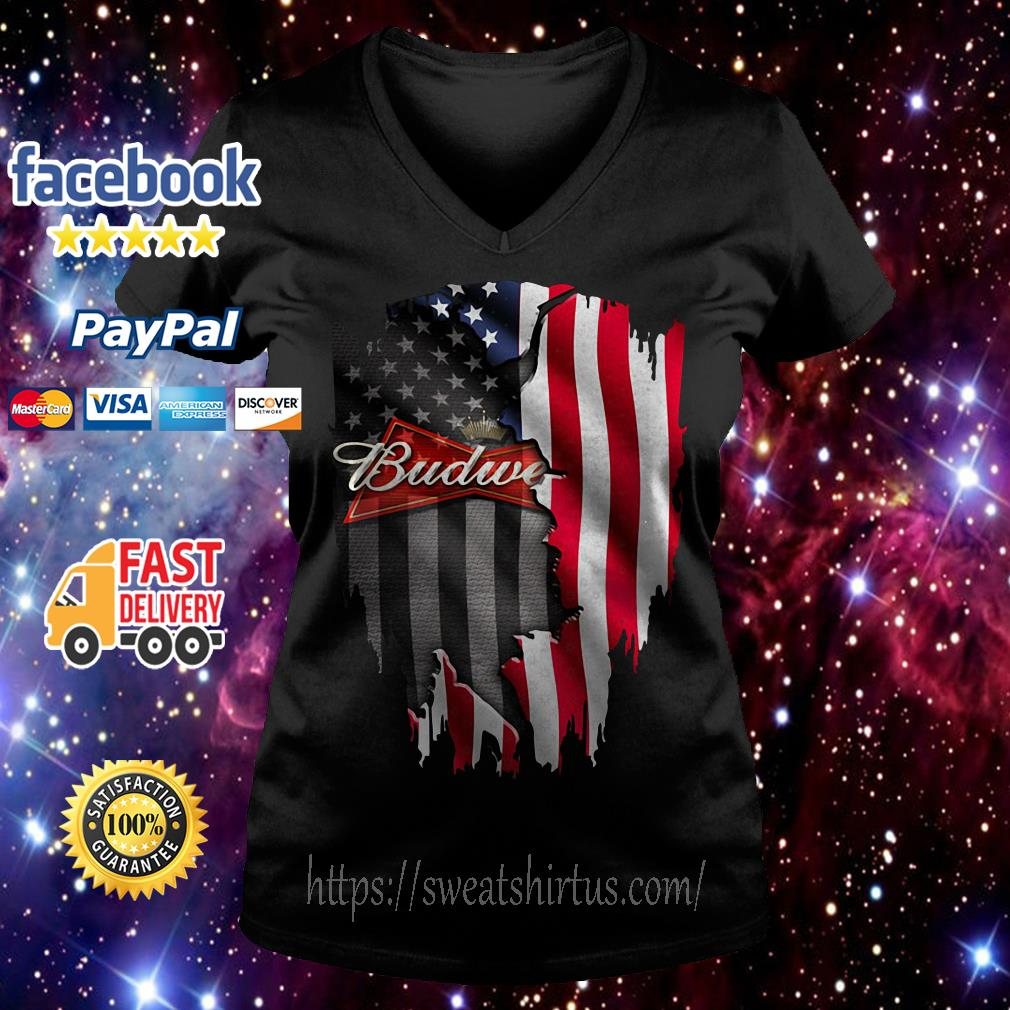 Budweiser beer American flag Independence Day 4th Of July V-neck T-shirt
