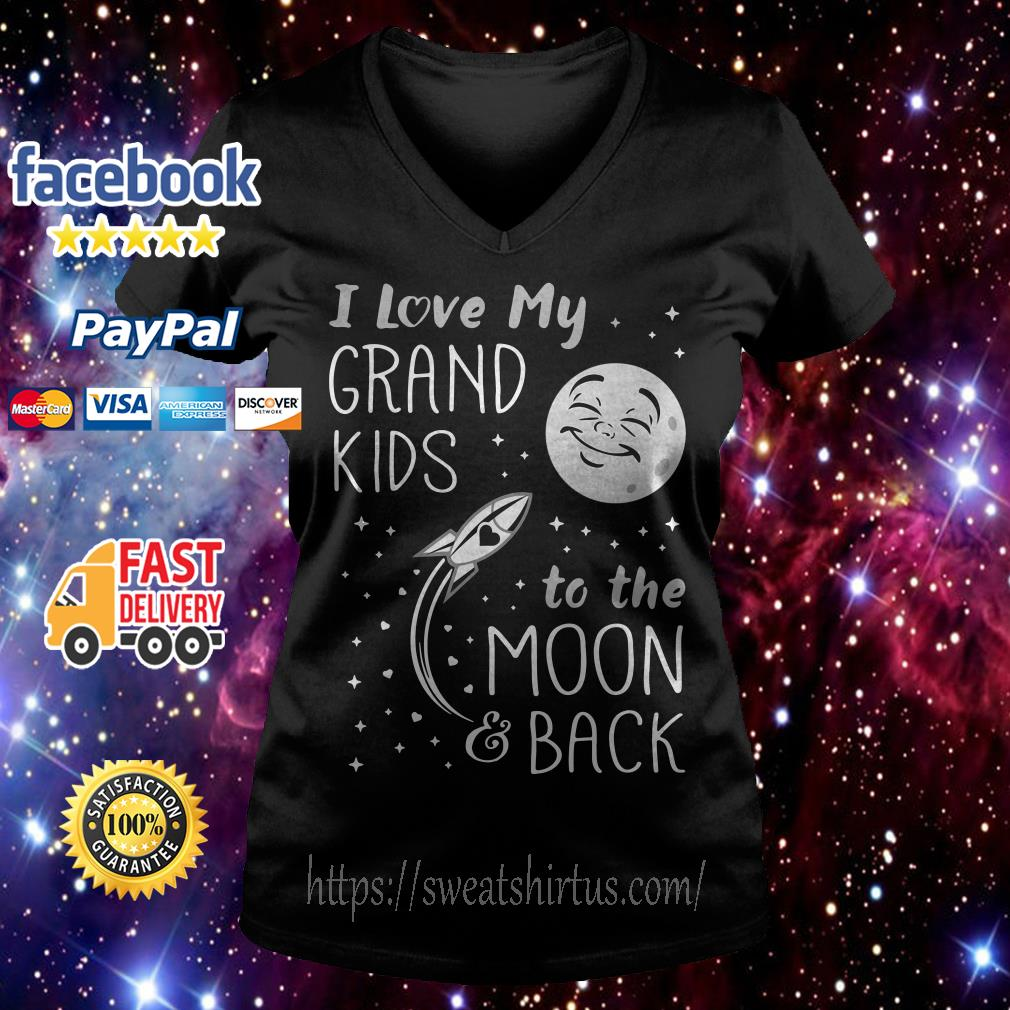 I love my grandkids to the moon and back V-neck T-shirt