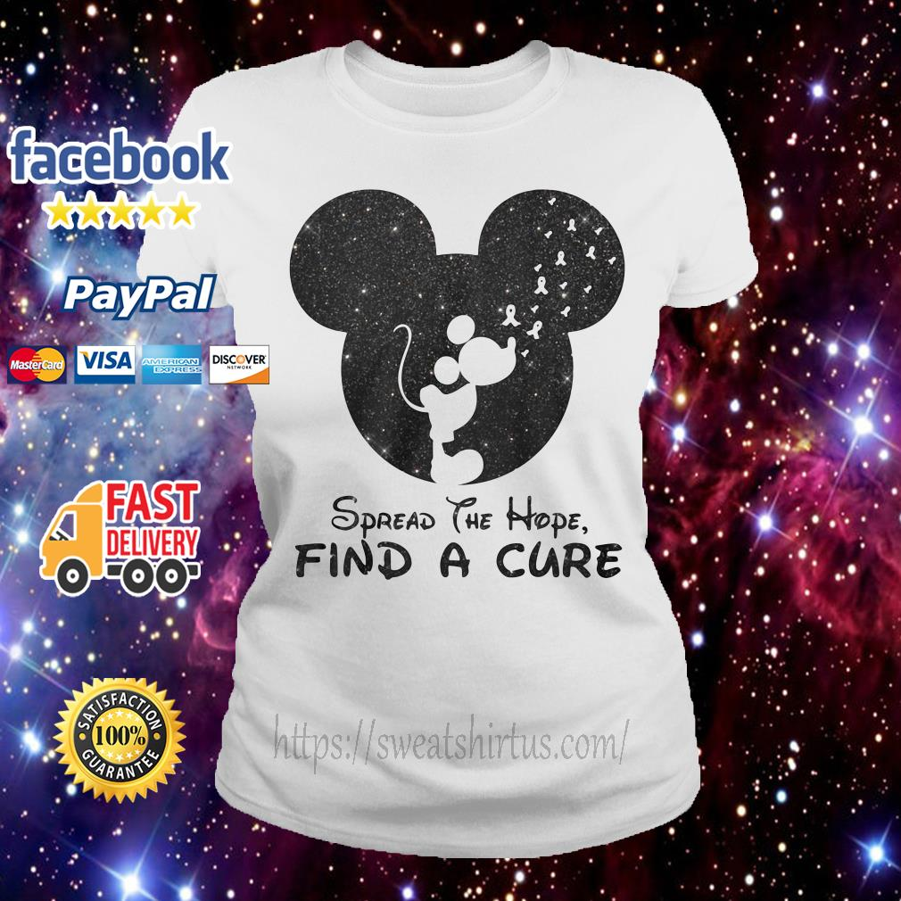 Mickey Breast Cancer spread the hope find the cure Ladies Tee