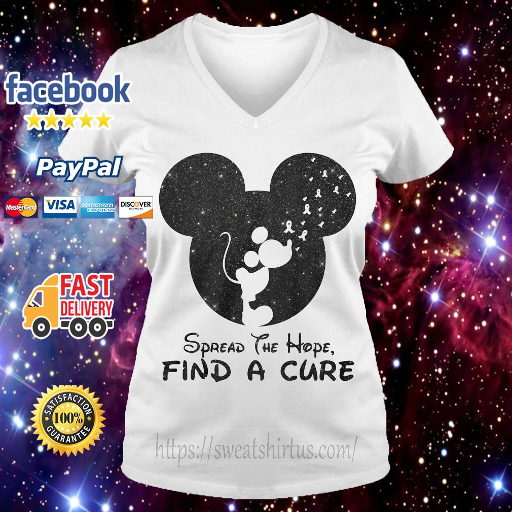 Mickey Breast Cancer spread the hope find the cure V-neck T-shirt