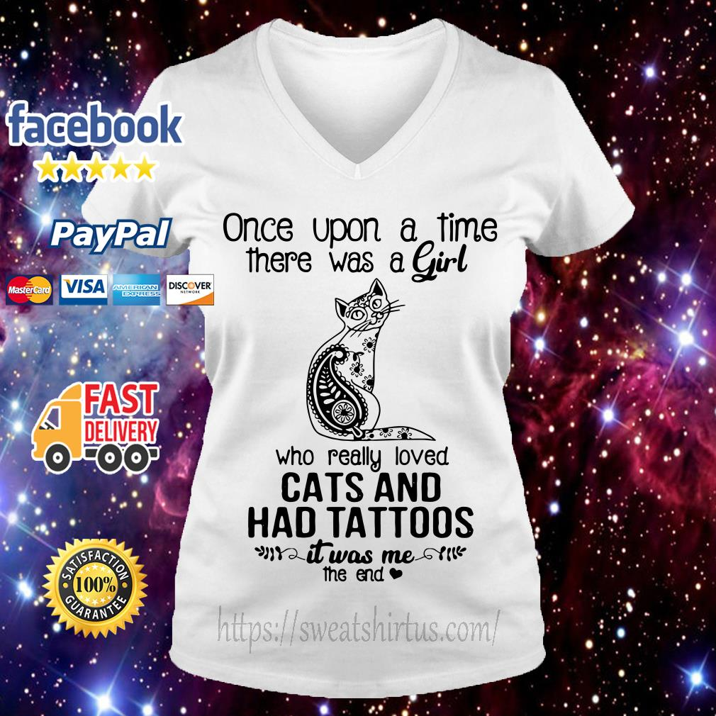 Once upon a time there was a girl who really loved cats V-neck T-shirt