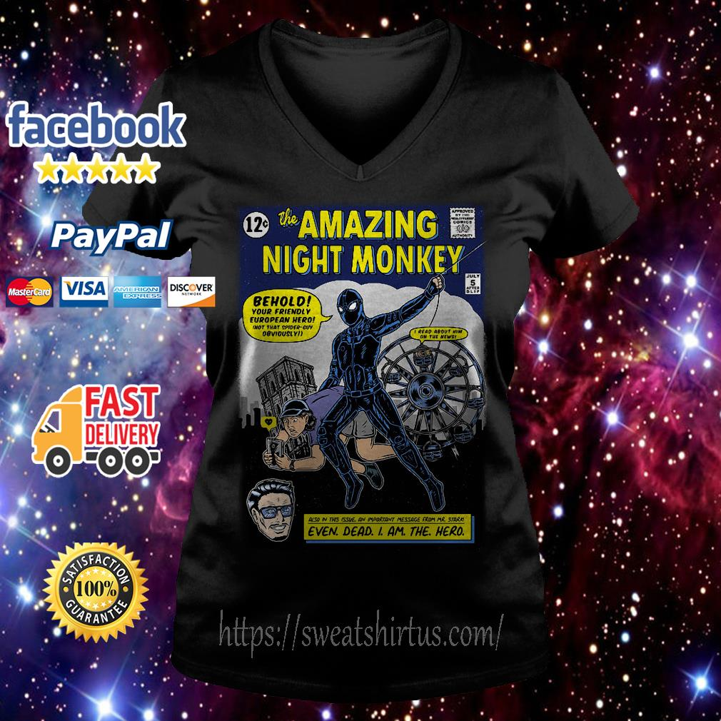The Amazing Night Monkey behold your friendly V-neck T-shirt