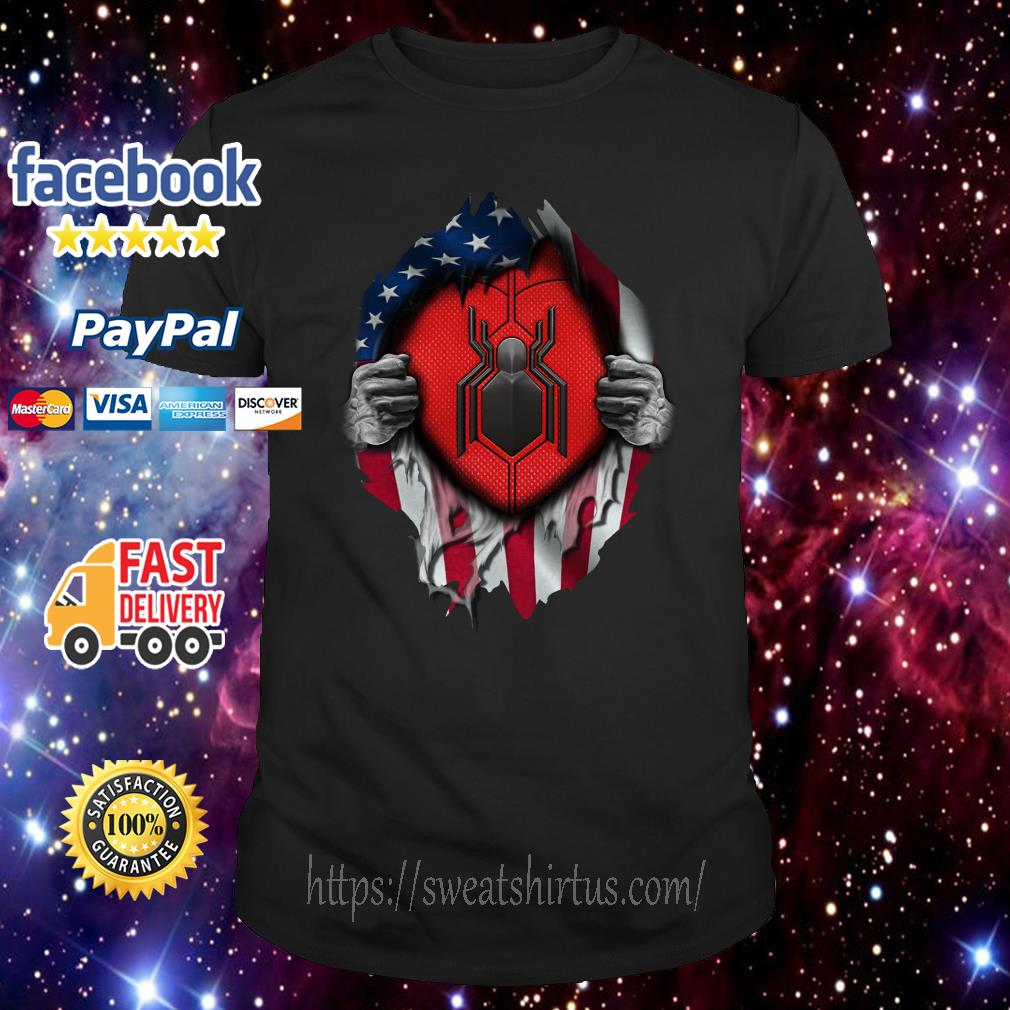 American flag Spider-man blood inside me shirt