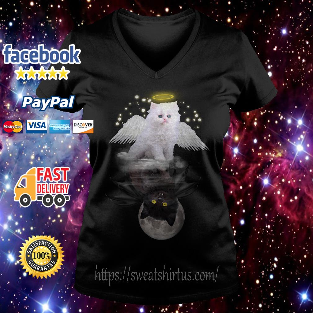 Cat meow angel and demon V-neck T-shirt