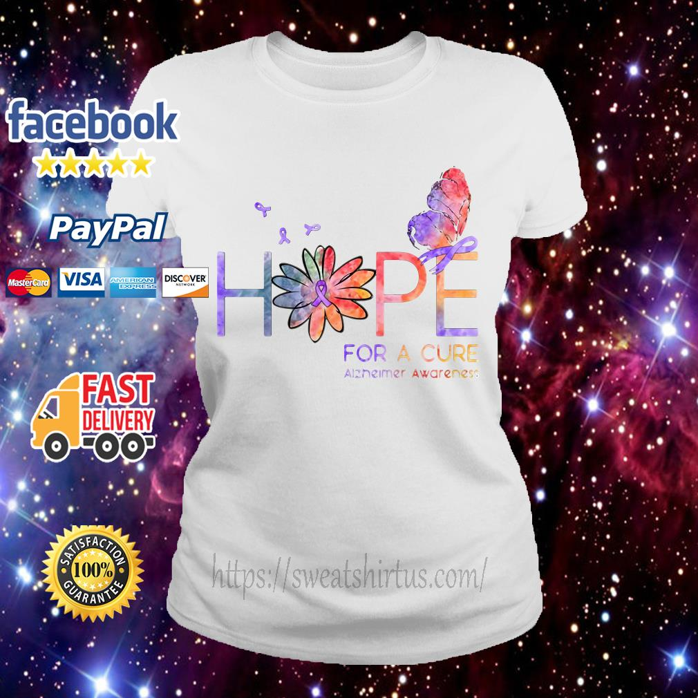 Flower butterfly hope for a cure Alzheimer Awareness Ladies Tee