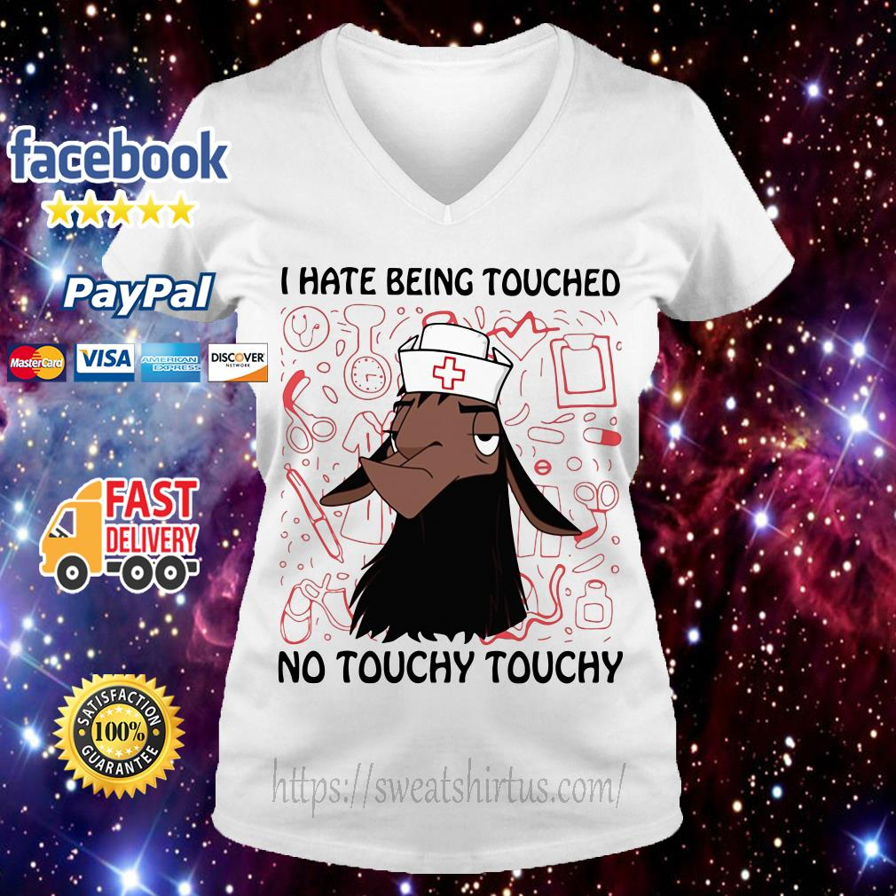 Kuzco Llama nurse I hate being touched no touchy V-neck T-shirt