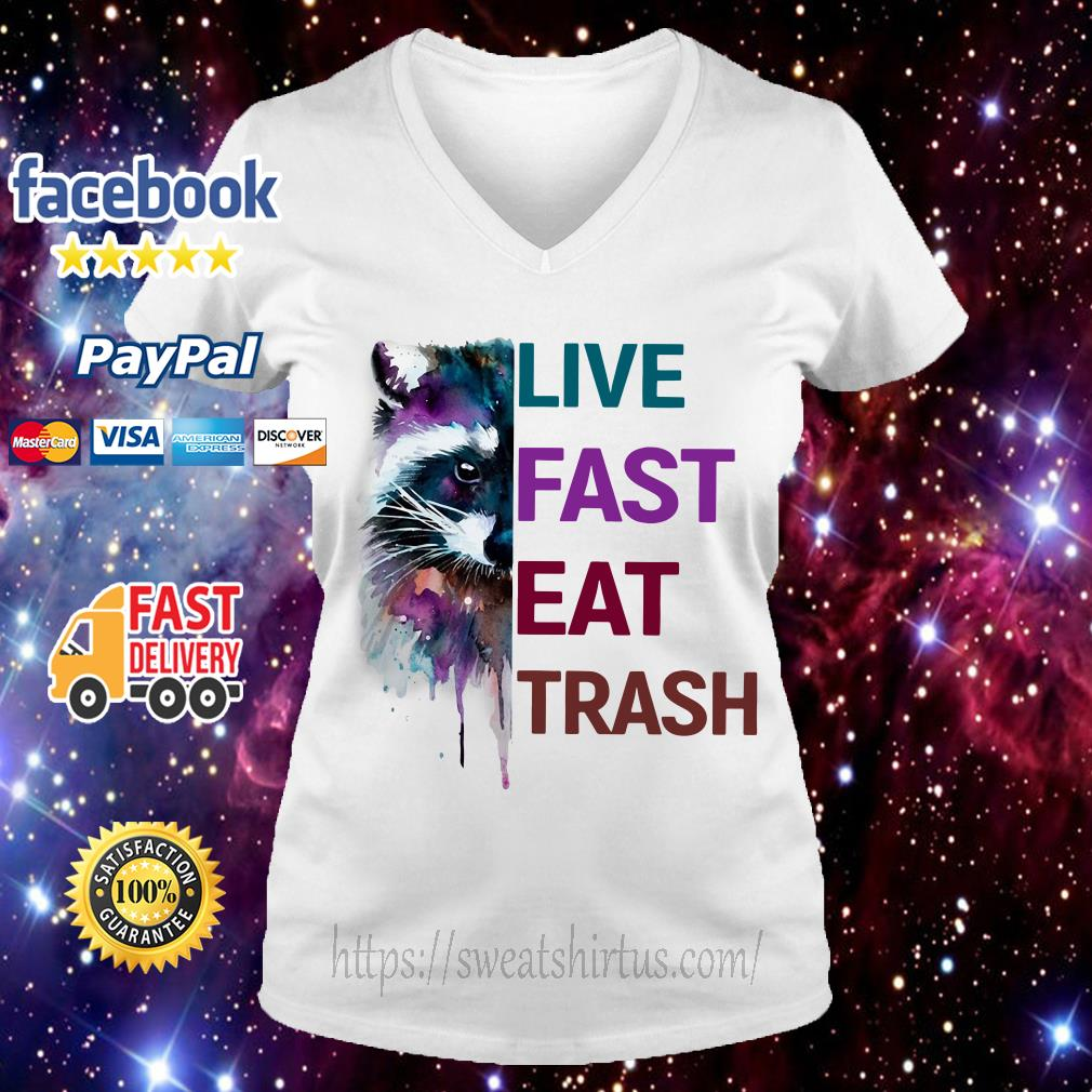 Racoon live fast eat trash V-neck T-shirt