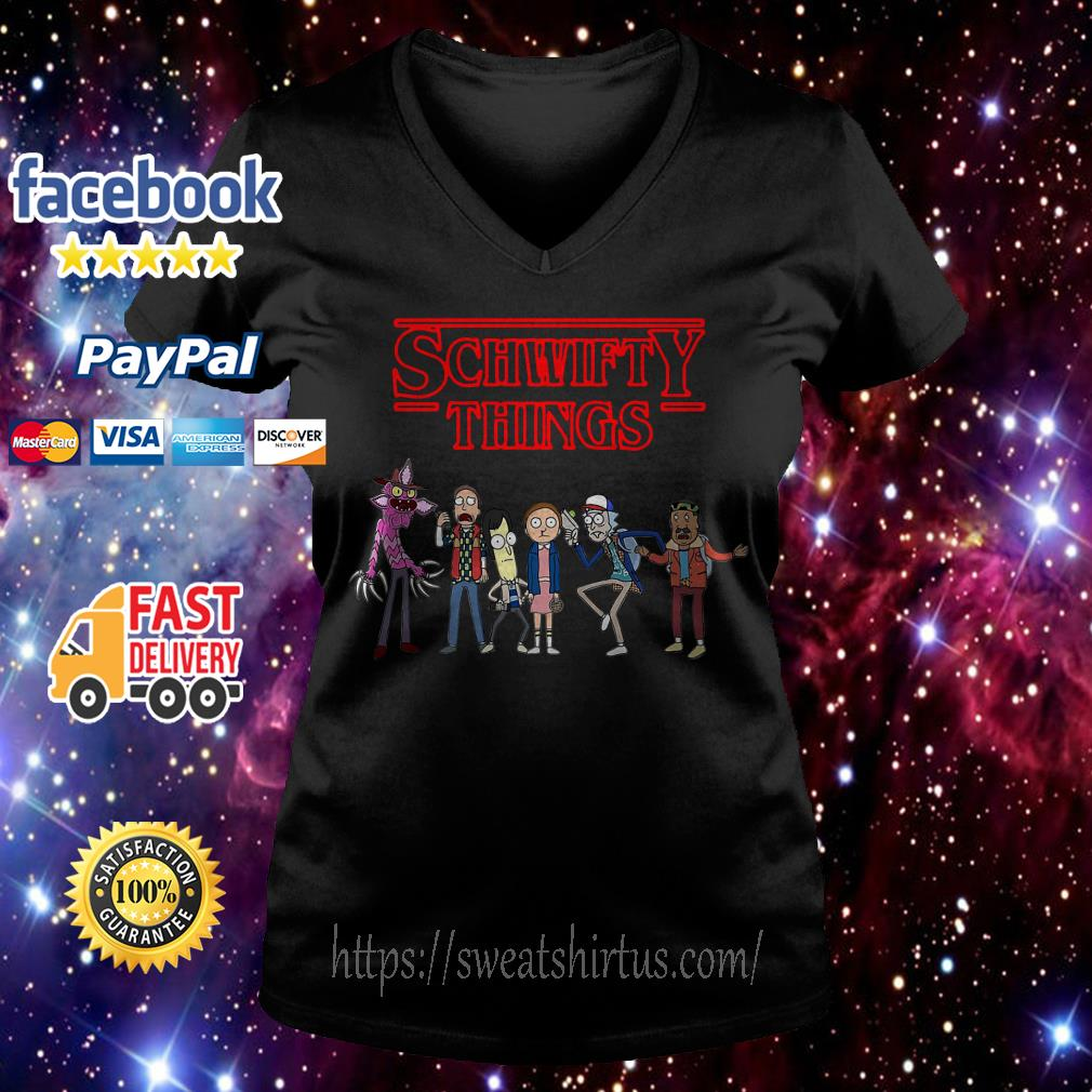 Rick and Morty Stranger Things Schwifty Things V-neck T-shirt