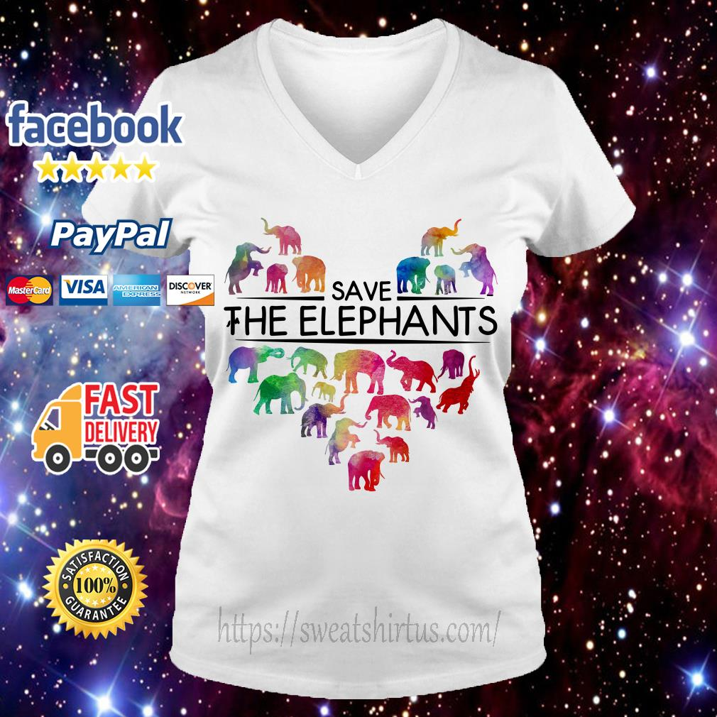 Save the elephants V-neck T-shirt