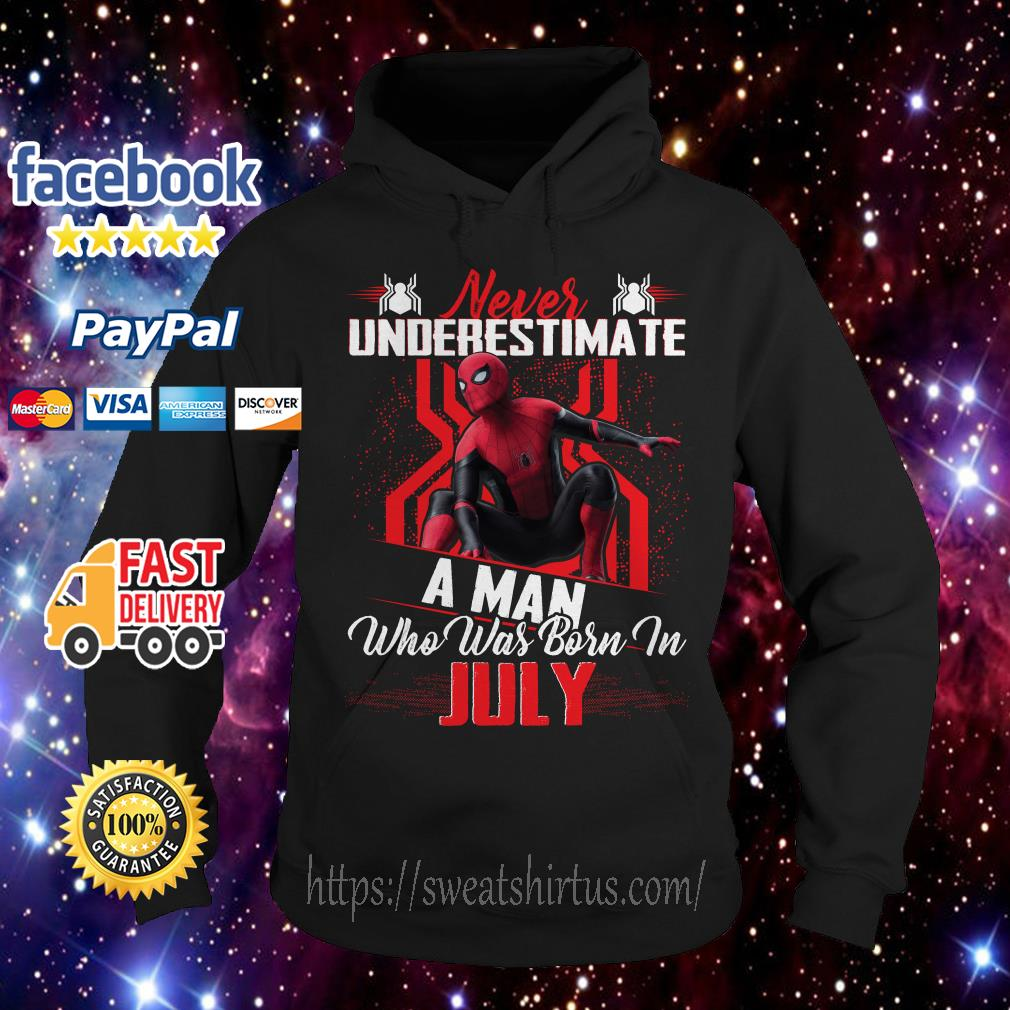 Spider-man Never underestimate a man who was born in July Hoodie