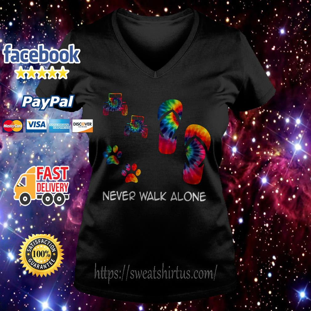 Tie-Dye Jeep flip flops and paw dog never walk alone V-neck T-shirt