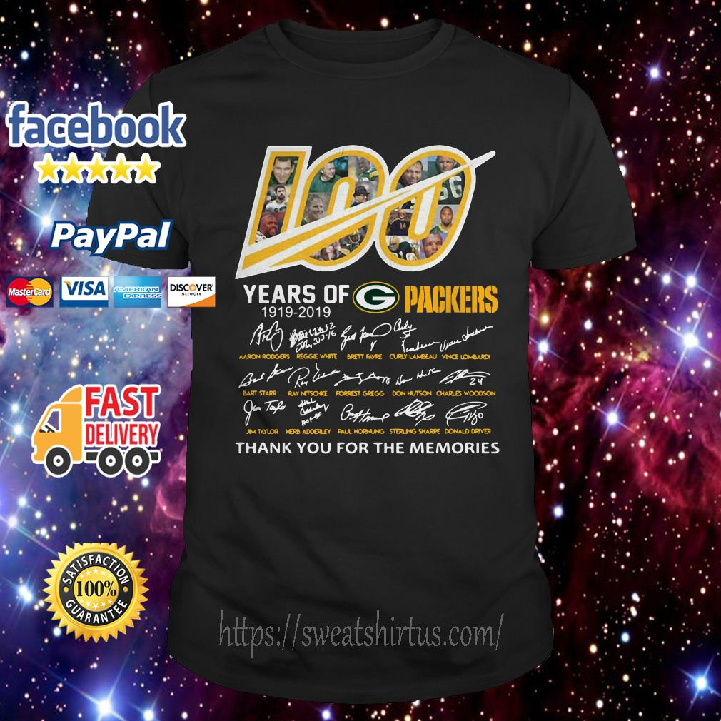 100 years of Green Bay Packers 1919-2019 signatures shirt