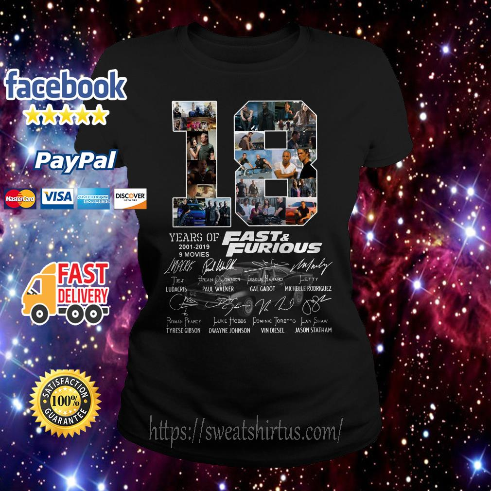 18 Years of Fast and Furious 2001-2019 9 movies signatures ladies-tee