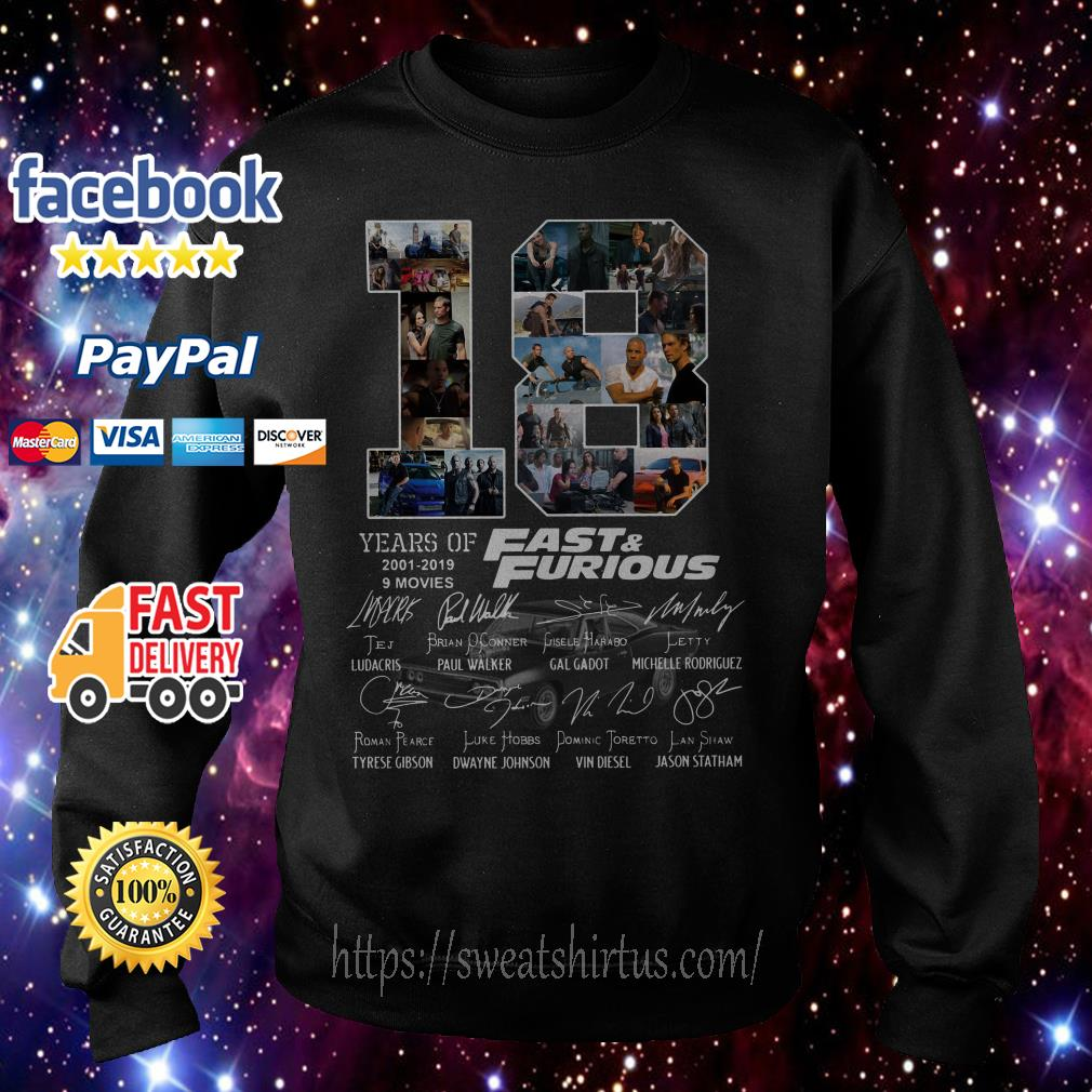 18 Years of Fast and Furious 2001-2019 9 movies signatures sweater