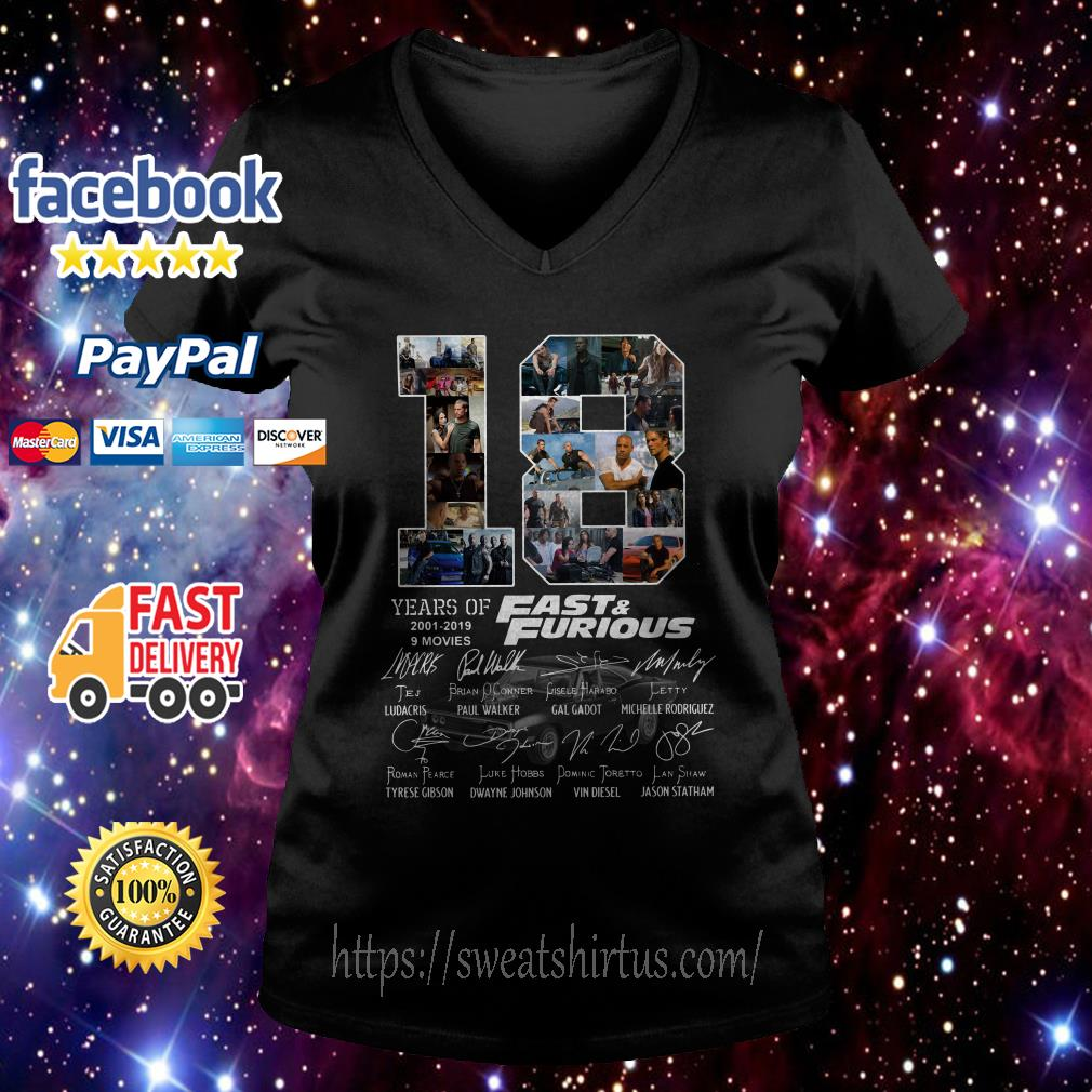 18 Years of Fast and Furious 2001-2019 9 movies signatures v-neck-t-shirt