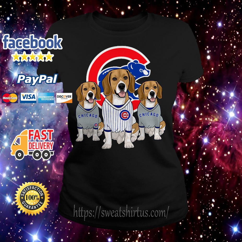 Beagle dog Chicago Cubs Ladies Tee