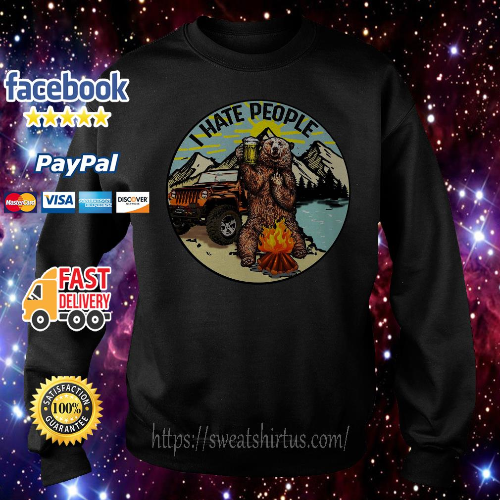 Bear and jeep I hate people camping beer sweater