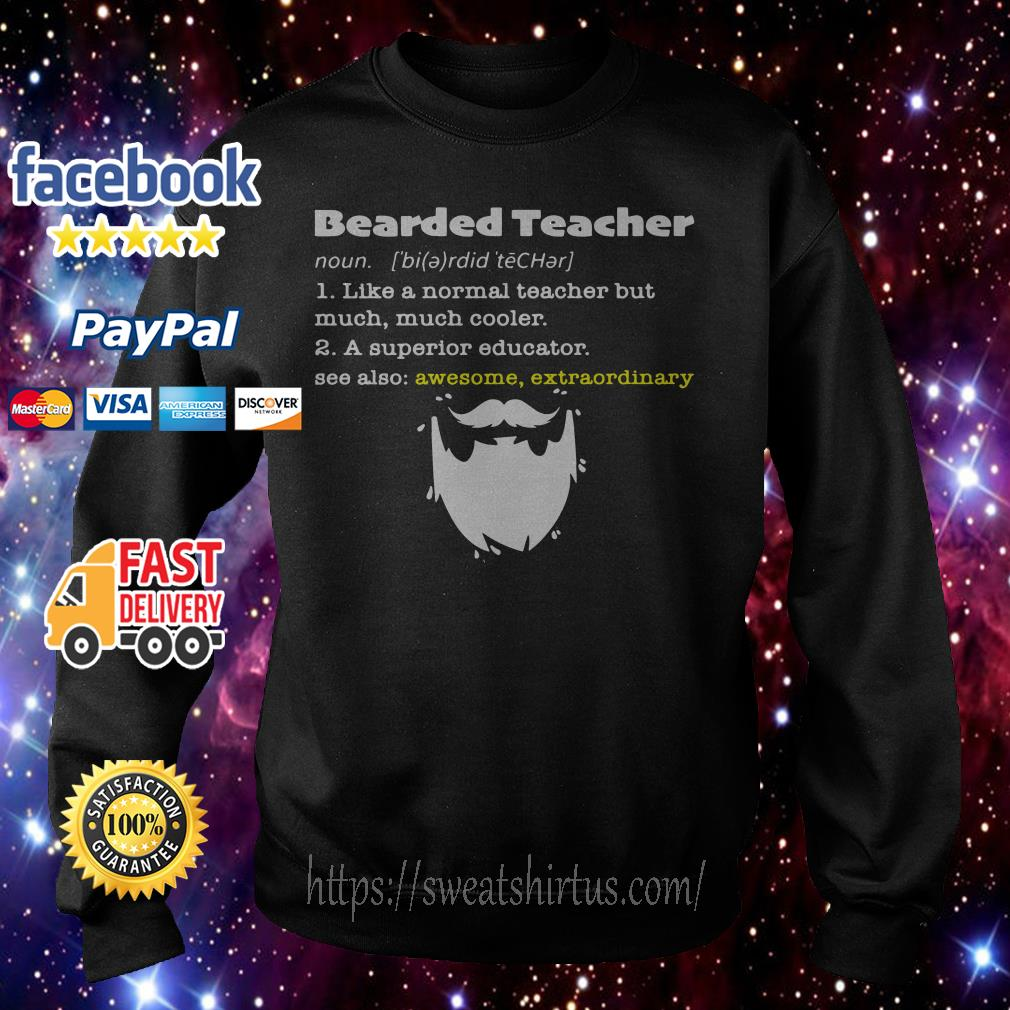 Bearded teacher like a normal teacher but much much cooler sweater