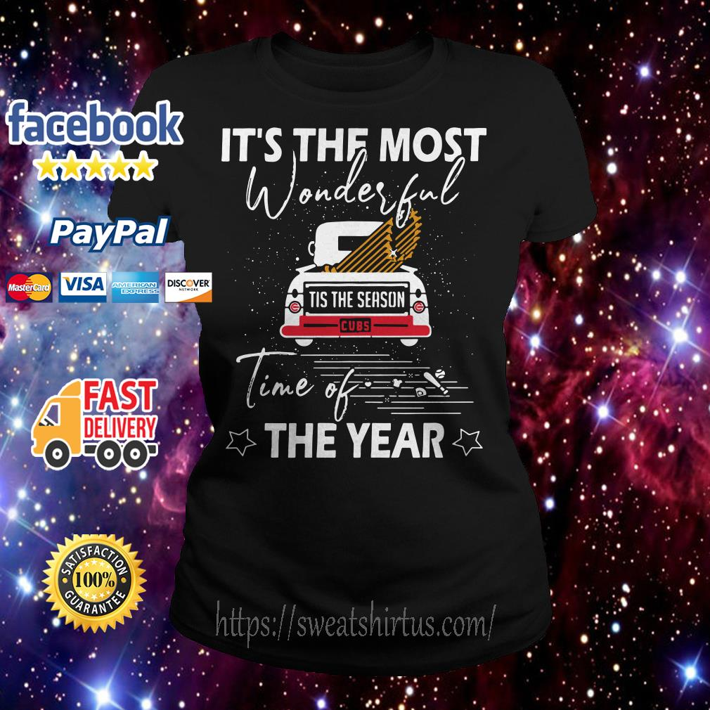 Chicago Cubs It the most wonderful time of the year Christmas Ladies Tee