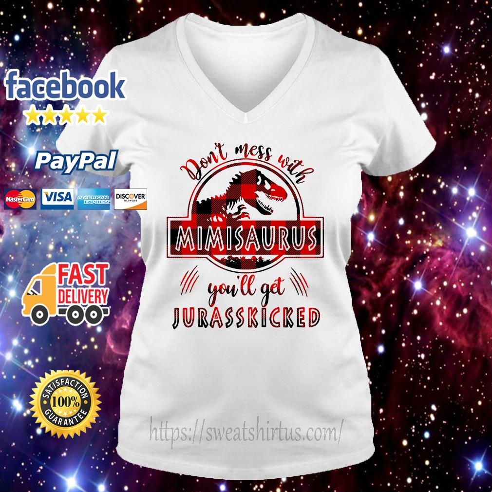 Don't mess with Mimisaurus you'll get Jurasskicked v-neck-t-shirt