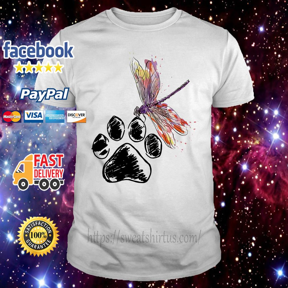 Dragonfly and paw dog shirt
