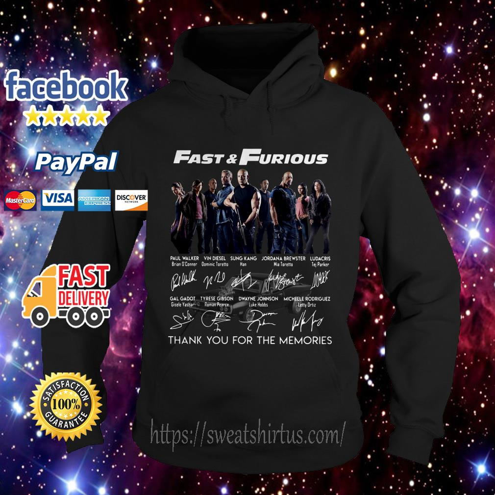 Fast and Furious thank you for the memories signatures hoodie