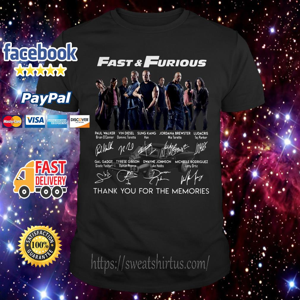 Fast and Furious thank you for the memories signatures shirt