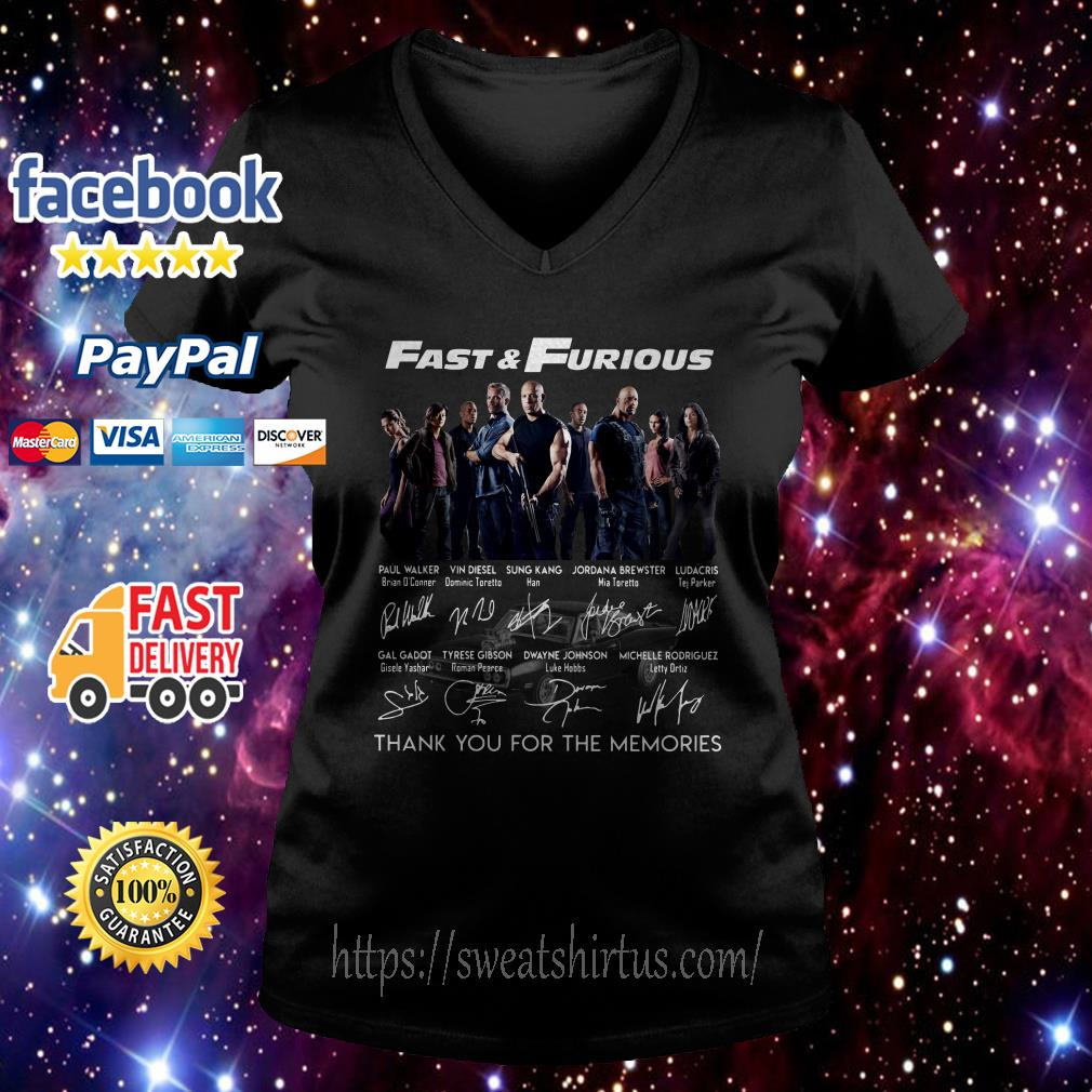Fast and Furious thank you for the memories signatures v-neck-t-shirt