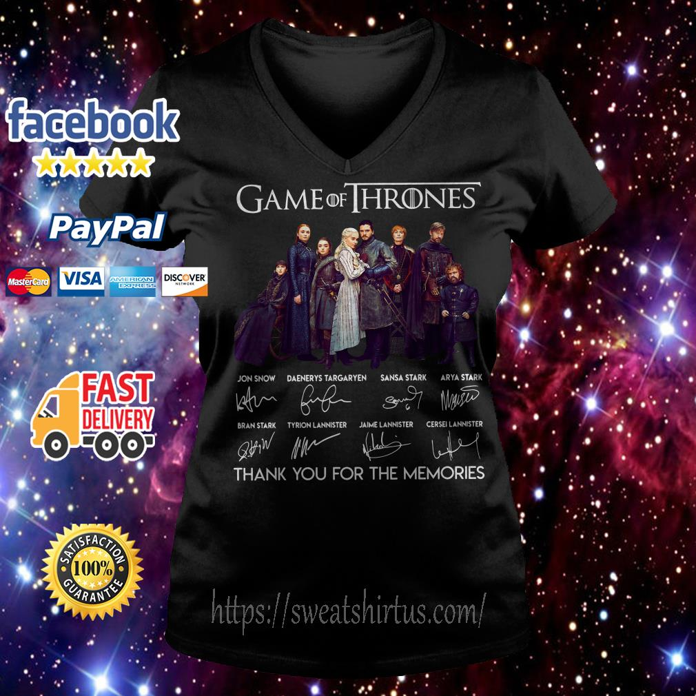 Game of Thrones thank you for the memories signatures V-neck t-shirt