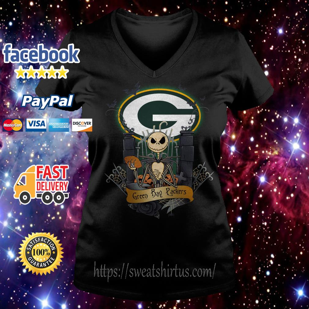 Green Bay Packers Jack Skellington this is Halloween NFL V-neck t-shirt