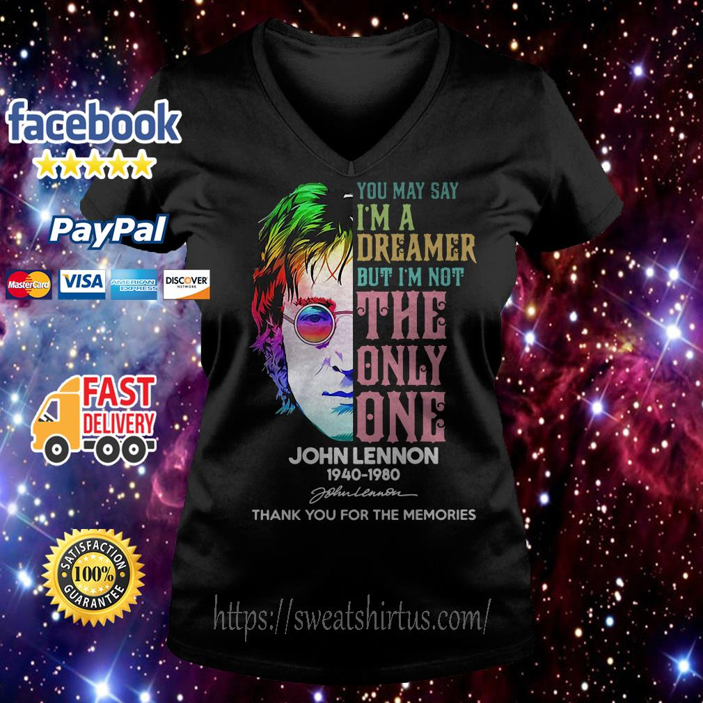 John Lennon 1940-1980 you may say I'm a dreamer but I'm not the only one v-neck t-shirt