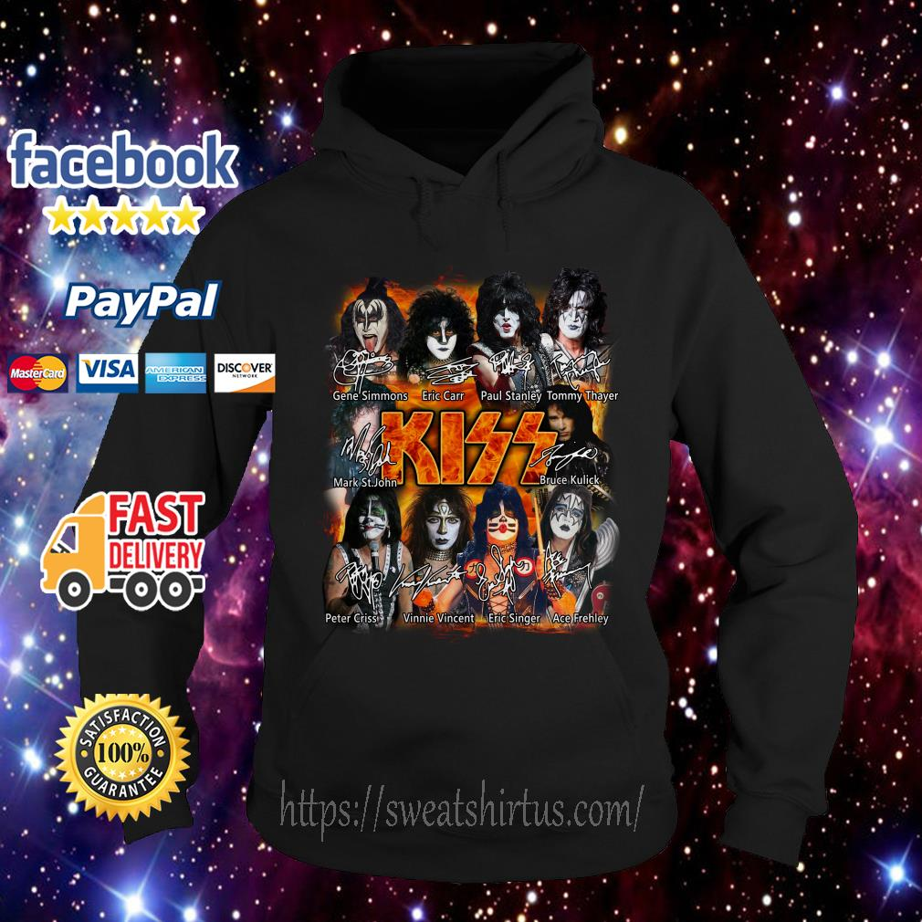 Kiss band Paul Stanley Eric Singer Tommy Thayer signatures Hoodie