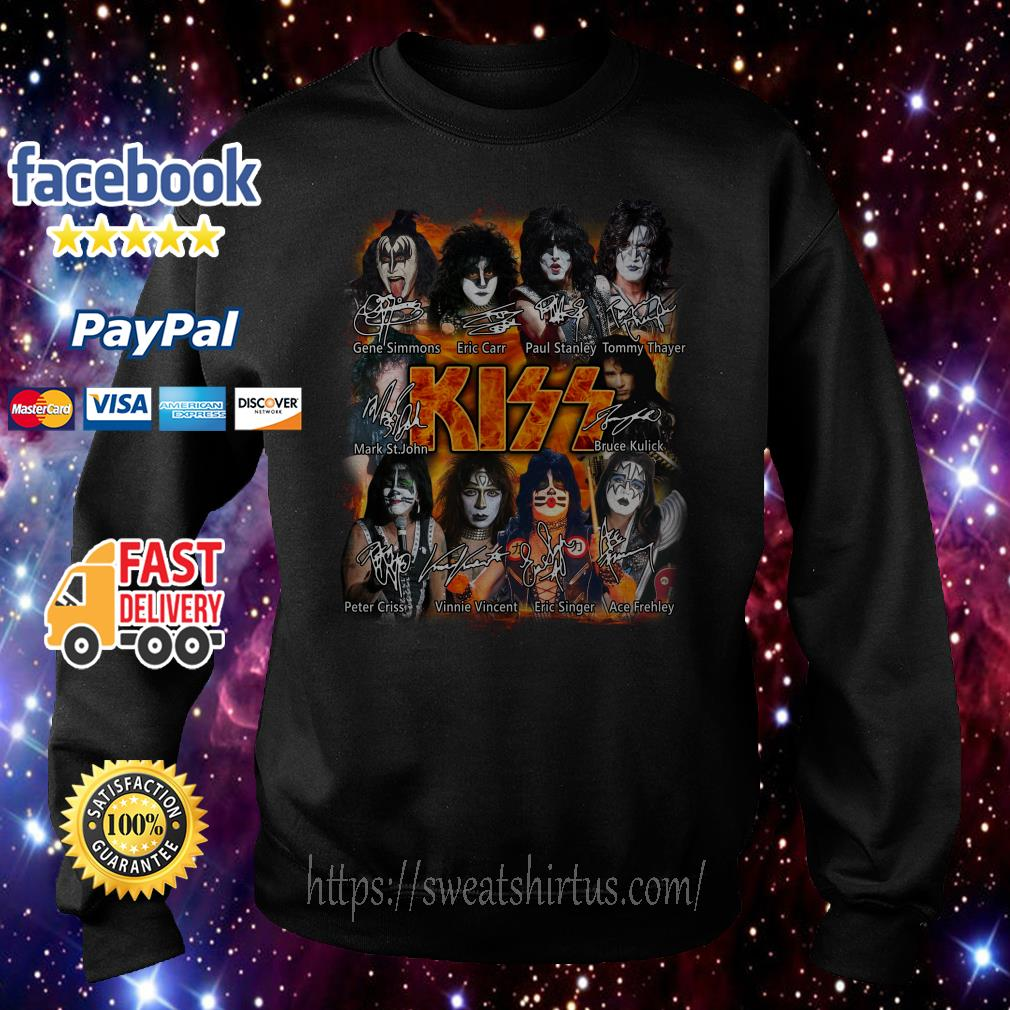 Kiss band Paul Stanley Eric Singer Tommy Thayer signatures Sweater