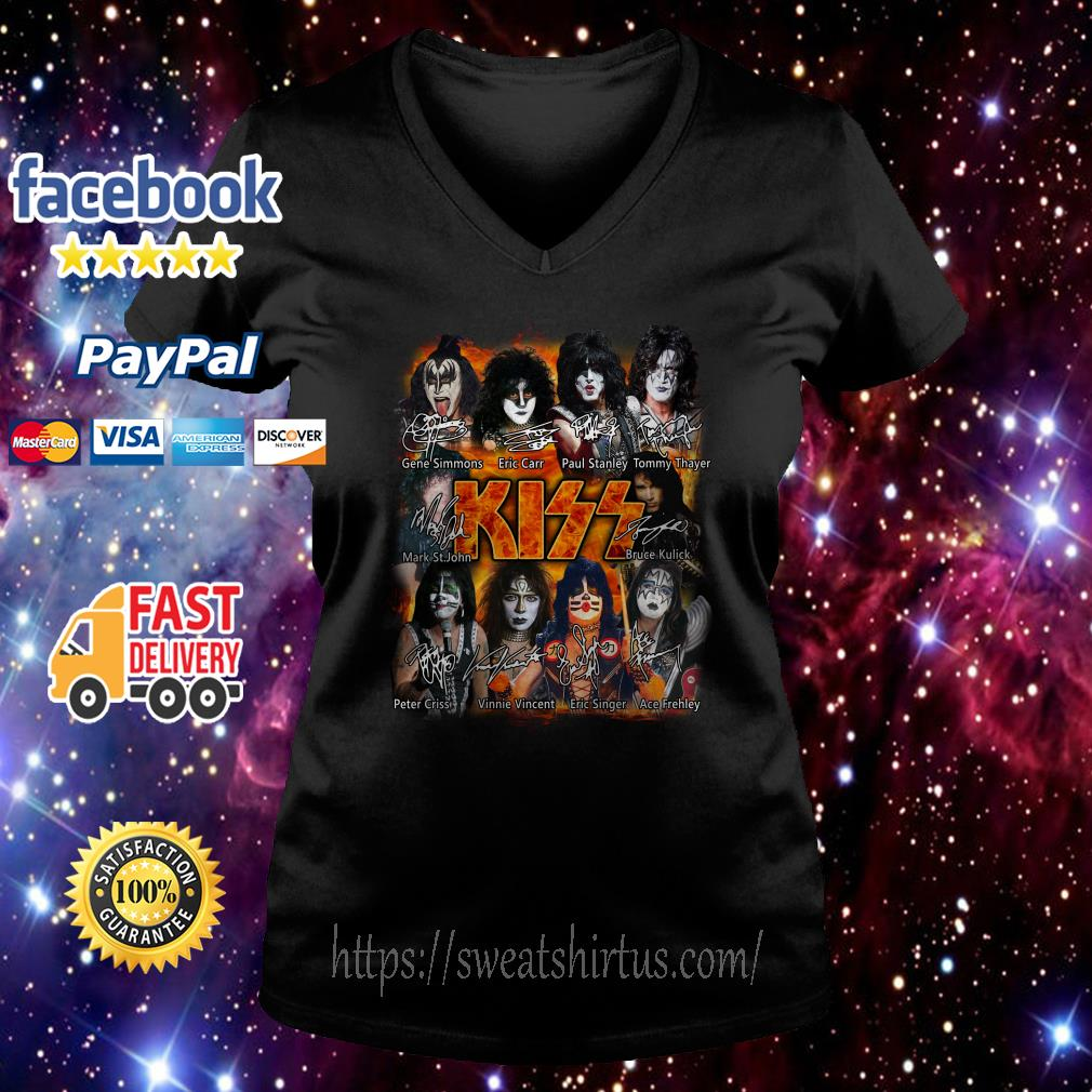 Kiss band Paul Stanley Eric Singer Tommy Thayer signatures V-neck T-shirt