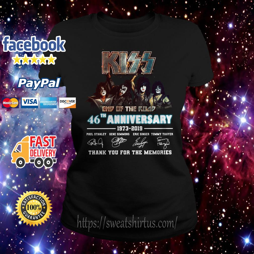Kiss end of the road 46th Anniversary 1973-2019 signatures Ladies Tee