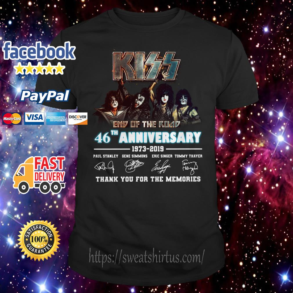 Kiss end of the road 46th Anniversary 1973-2019 signatures shirt