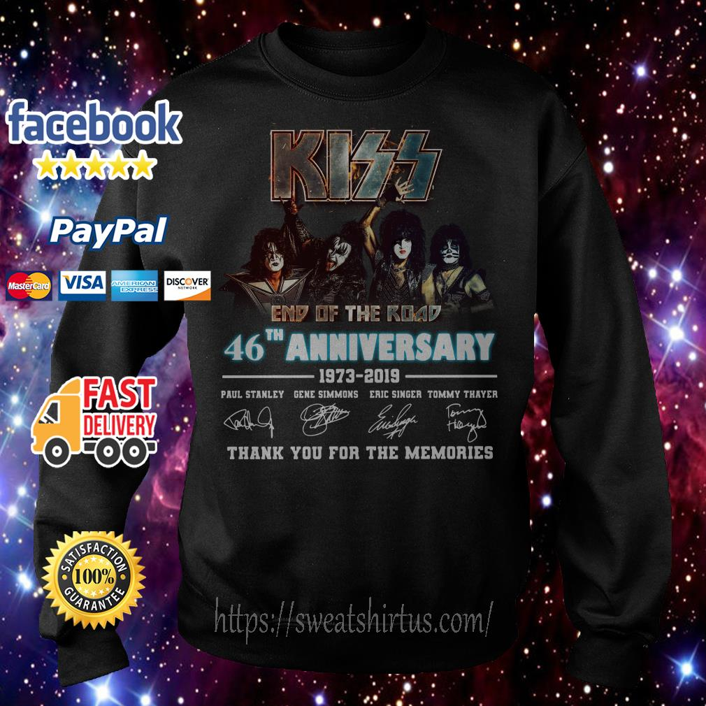 Kiss end of the road 46th Anniversary 1973-2019 signatures Sweater