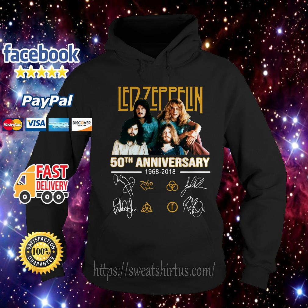Led Zeppelin 50th anniversary 1968-2018 signatures Hoodie