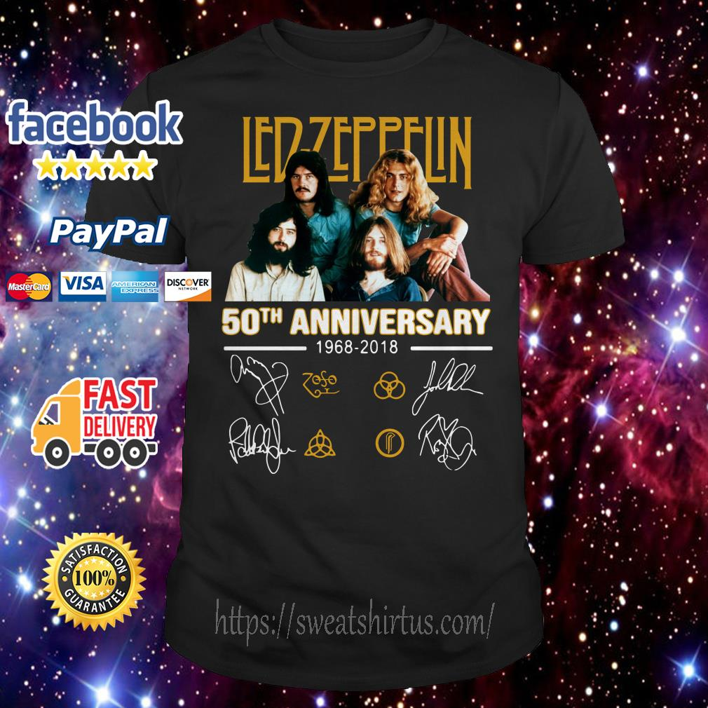 Led Zeppelin 50th anniversary 1968-2018 signatures shirt