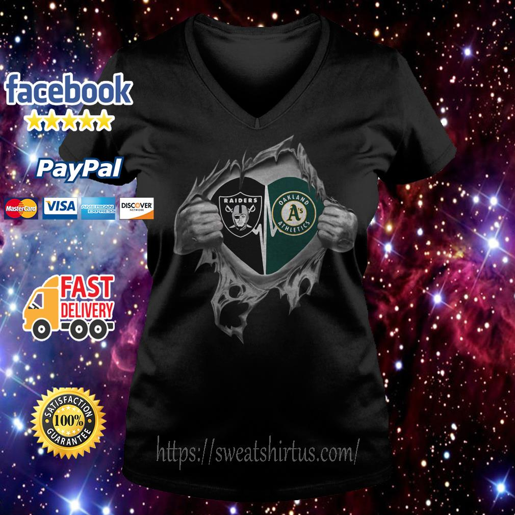 Oakland Raiders and Oakland Athletics It's in my heart V-neck T-shirt