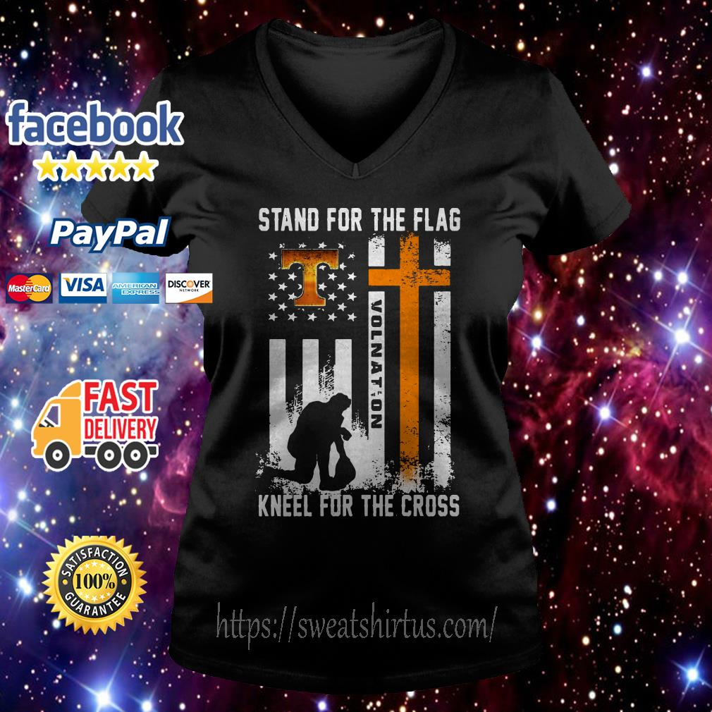 Tennessee Volunteers stand for the flag kneel for the cross V-neck T-shirt