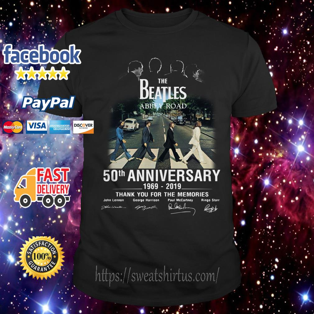 The Beatles album Abbey Road 50th Anniversary 1969-2019 signatures shirt