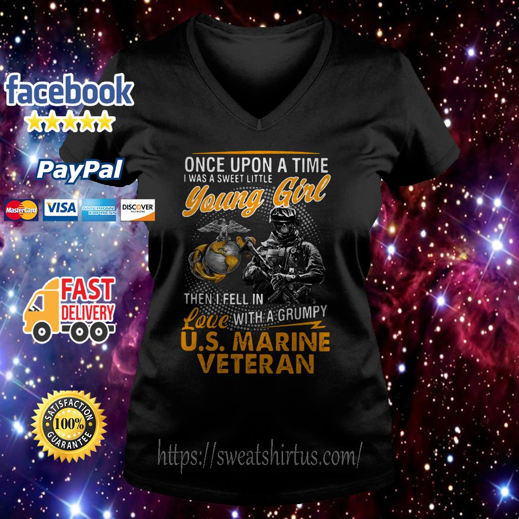 U.S Marine Veteran once upon a time I was a sweet little young girl V-neck T-shirt