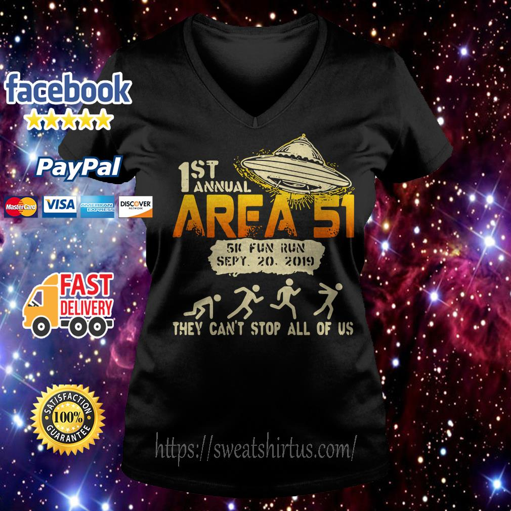UFO 1st Area 51 5k fun run they can't stop all of us v-neck t-shirt