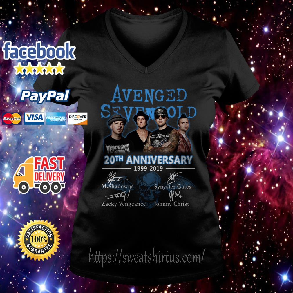 Avenged Sevenfold 20th Anniversary 1999-2019 signatures V-neck T-shirt