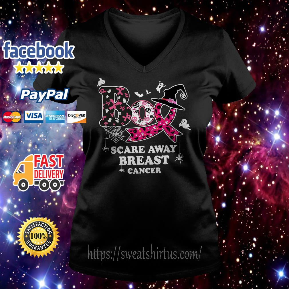 Boo scare away breast cancer Halloween V-neck T-shirt
